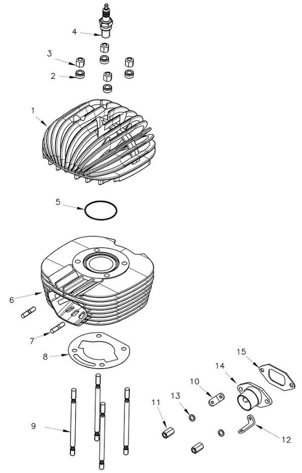 Rok VLR Cylinder, Head Parts