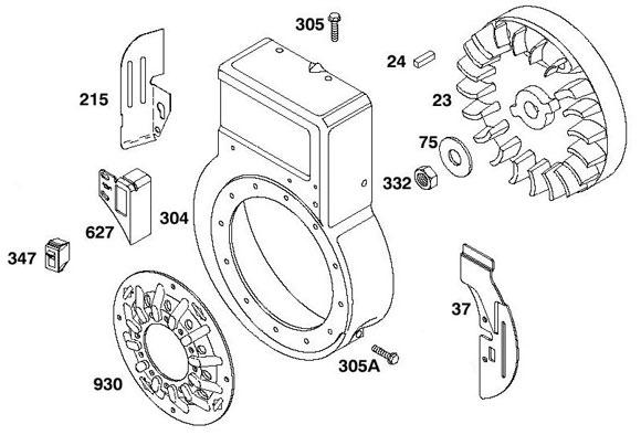 Briggs Flathead - Flywheel, Housing Parts