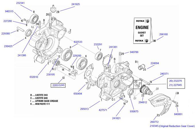 Rotax Crank Case Parts