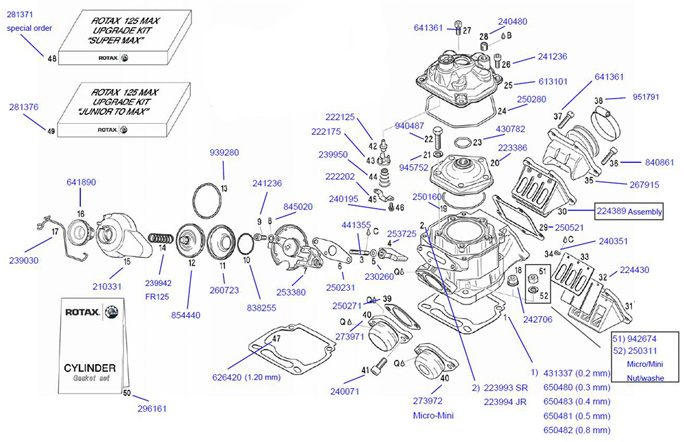 Rotax Max Engine Parts 2 Cycle Engine Parts Engines  : cylinderhead from cometkartsales.com size 684 x 442 jpeg 112kB