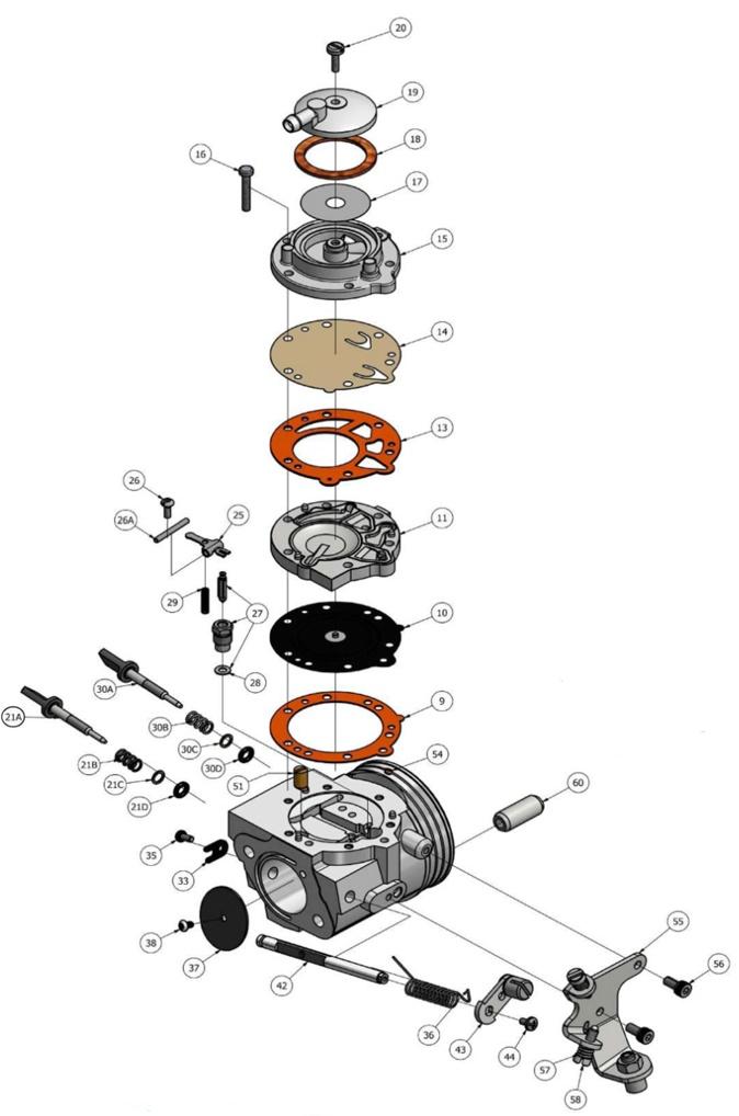IAME KA100 HW-33A Carburetor Parts