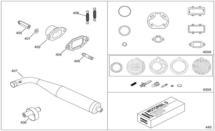 IAME KA100 Exhaust Parts and Gasket Sets