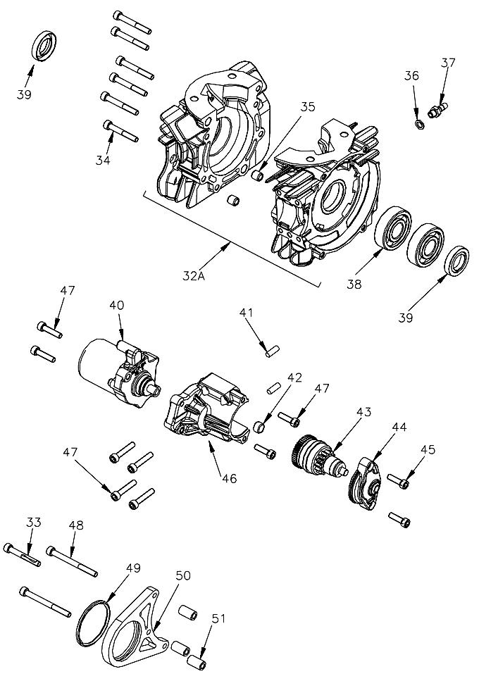 Mini Rok Crankcase, Starter Parts