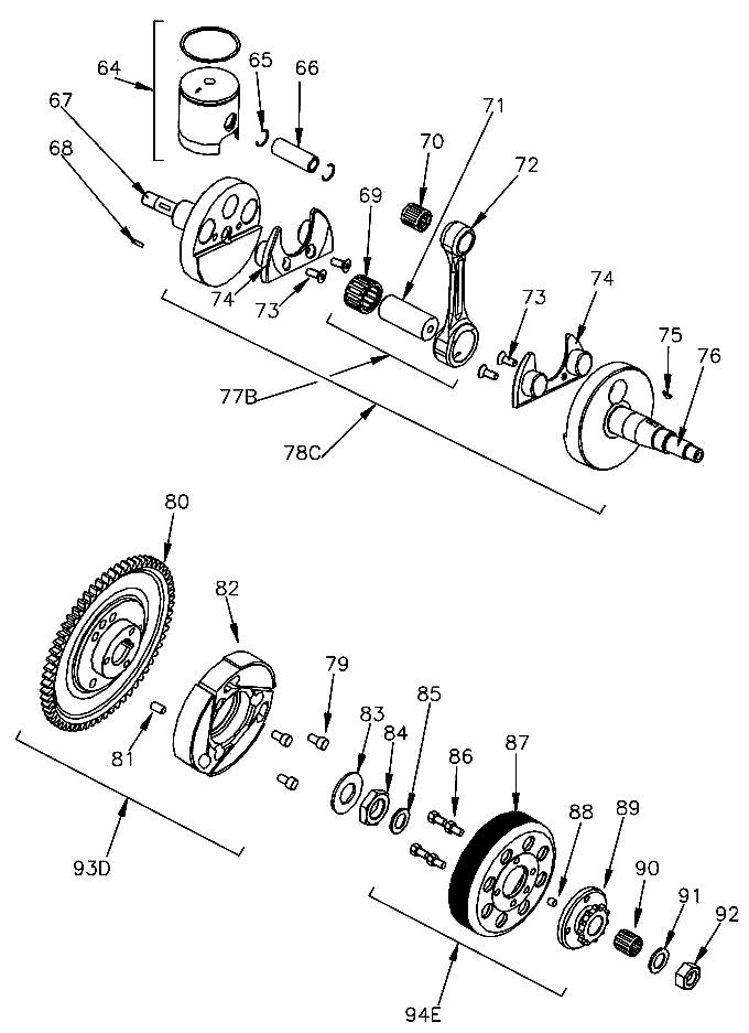 Mini Rok Crank, Piston, Clutch Parts