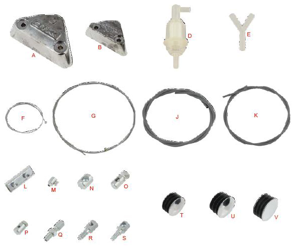 OTK Tony Kart Lead Weight, Fuel and Cable Parts
