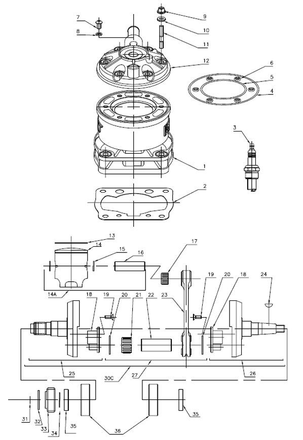 Rok Shifter Crankshaft, Cylinder, Head Parts