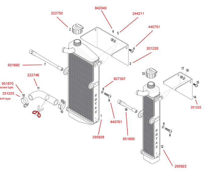 Rotax New Style Radiator and Parts Rotax Radiator Parts – Rotax Engine Parts List Diagram