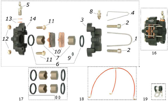 CRG VEN04 Front Brake Caliper Parts