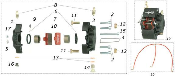 CRG VEN05 Front Brake Caliper Parts