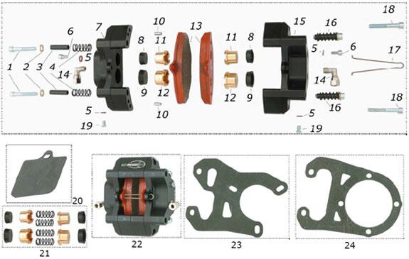 CRG VEN99 Rear Brake Caliper Parts