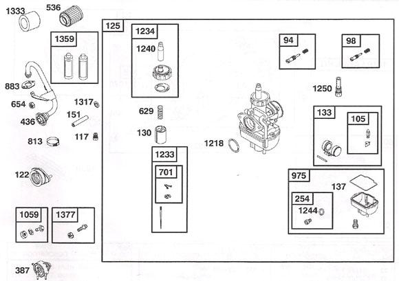 Briggs World Formula - Carburetor and Exhaust Parts