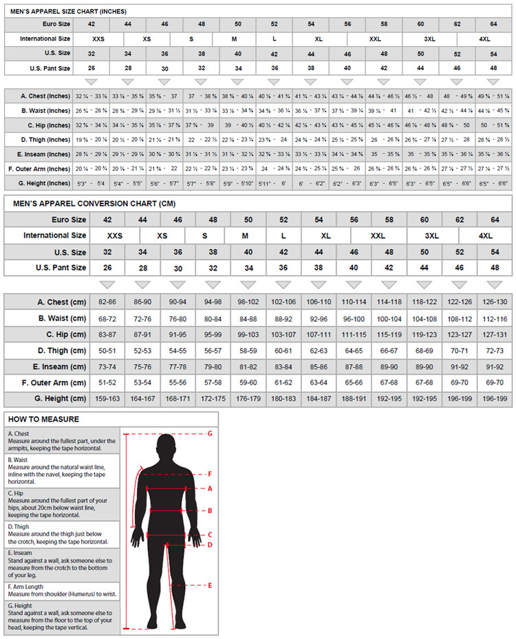 Sparco Racing Suits Size Chart Rain Suit Sizing Chart