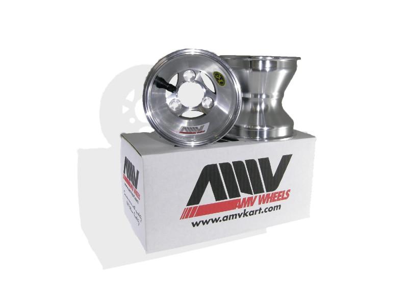 "AMV 130mm x 5"" Cast Aluminum Spoke Wheel, Bolt In Hub Style"