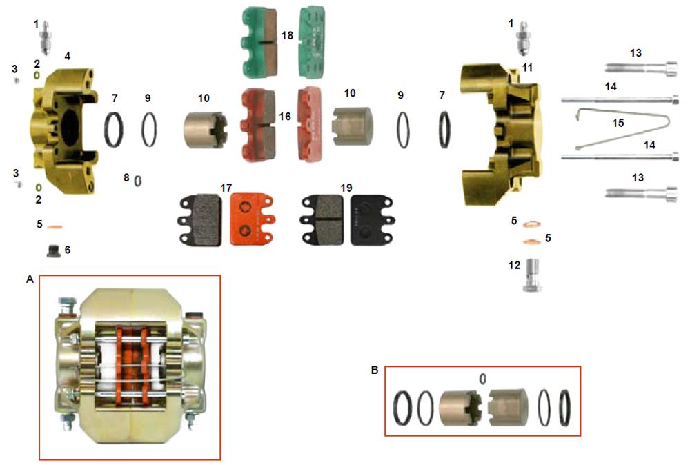 CRG Kart VEN09, VEN10, VEN11 Rear Brake Caliper Parts