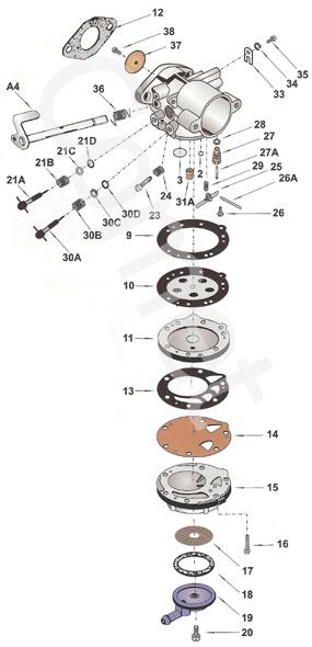 12  hl334 tillotson flange gasket 16b-216    hl carb parts
