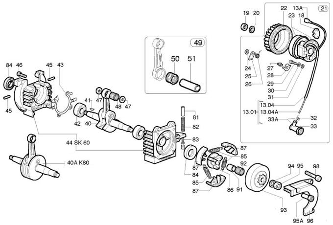 40 (k080 040) k80 crankshaft assembly k 80 bottom end parts flat plane crank engine diagram (k080 040) k80 crankshaft assembly k 80 bottom end parts comer k 80 engine parts
