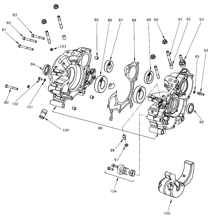 Vortex Rok GP Crankcase Diagram