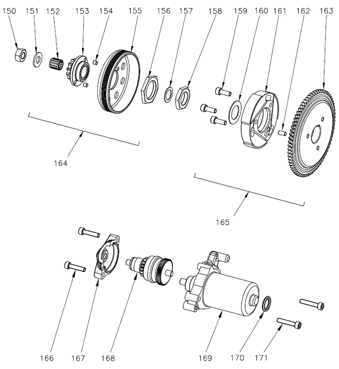 Vortex Rok GP Clutch and Starter Diagram