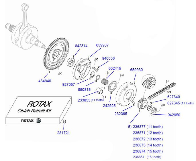 14  281721 Rotax Clutch Retrofit Kit :: Rotax Clutch Parts :: Rotax