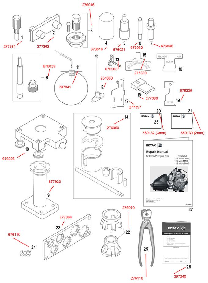 1 277381 rotax fixation tool for crankshaft rotax engine tools rotax max engine parts