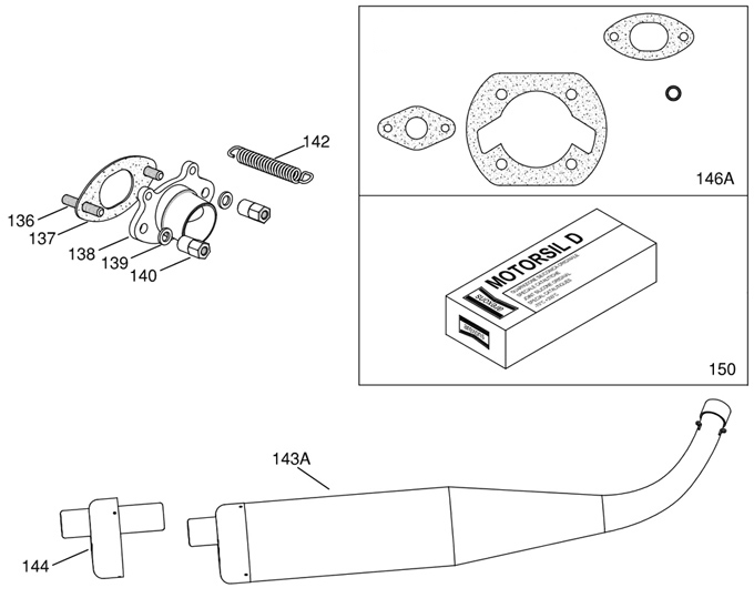 IAME Mini Swift Exhaust Pipe, Parts and Gaskets Exploded View