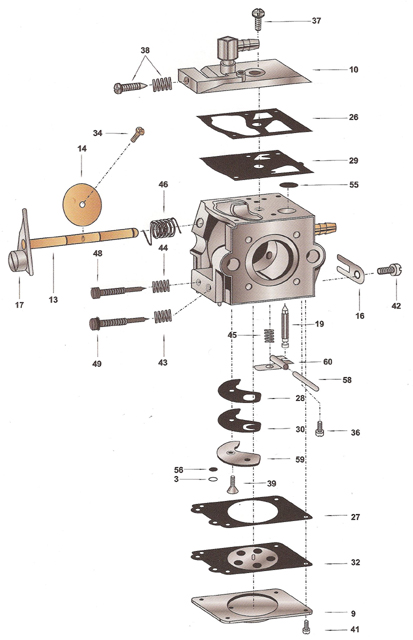 WA55 Walbro Carburetor Exploded View