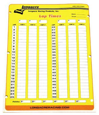 22525 Longacre Lap Time Sheets