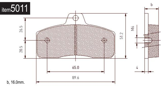 5011 Birel Rear Brake Pads