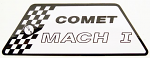 Comet Mach 1 Sticker, Black/White