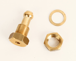 Brass Return Line Fitting for Fuel Tanks, Single Barb End, Threaded with Nut